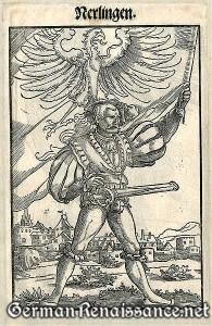 """""""Nerlingen"""" Landsknecht als -- Fahnenschwinger. -- Holzschnitt / Woodcut (Lansquenet) : 1545"""